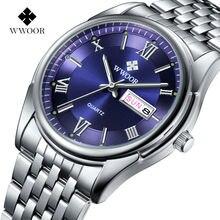 2017 wwoor роскошь бизнес часы мужские световой аналоговый календарь нержавеющей стали кварцевые наручные часы классический мужской relógio masculino