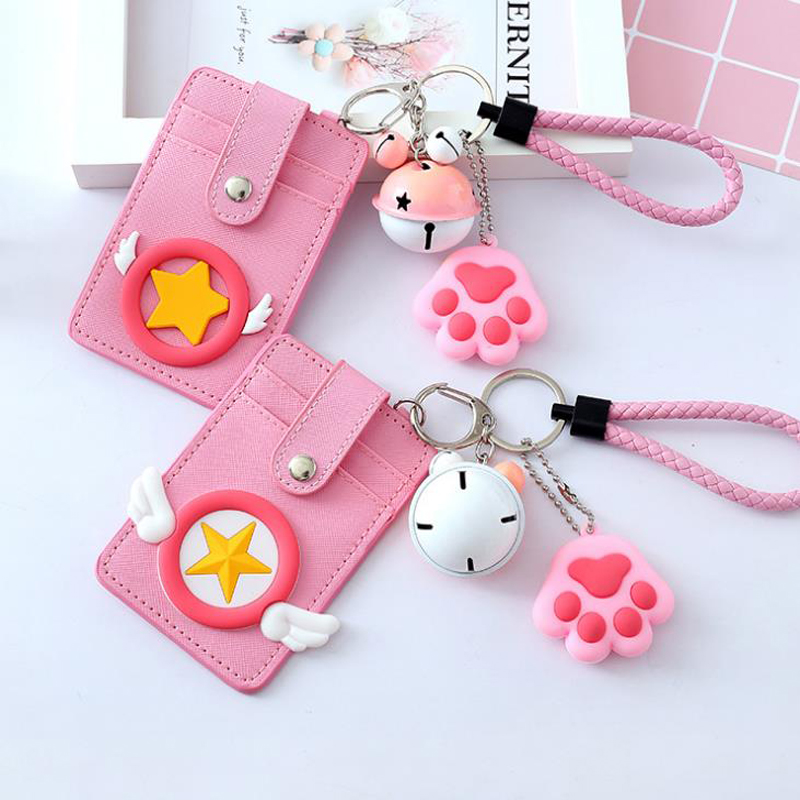 1 Pcs Popular Japanese Cartoon Card Captor Sakura Bank Bus Card Bag Bell Set Cosplay Card Holder Figures Pendant Document Bag