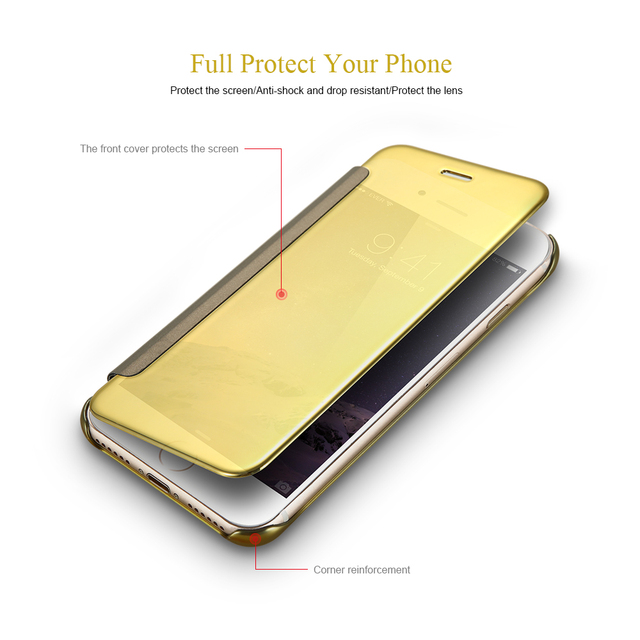 KISSCASE Clear Window Flip Plating Case For Samsung Galaxy S8+ S7 Edge S6 Edge Plus Note 8 Cover Plated Hard Plastic Mirror Case