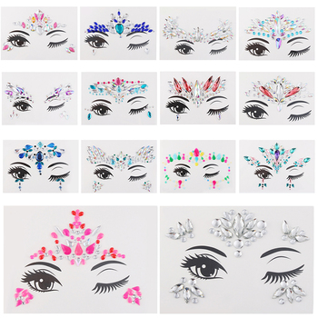 1PC Temporary Adhesive 3D Face Jewelry Festival Party Body Gems Rhinestone Flash Tattoos Body Stickers Makeup Beauty Tools