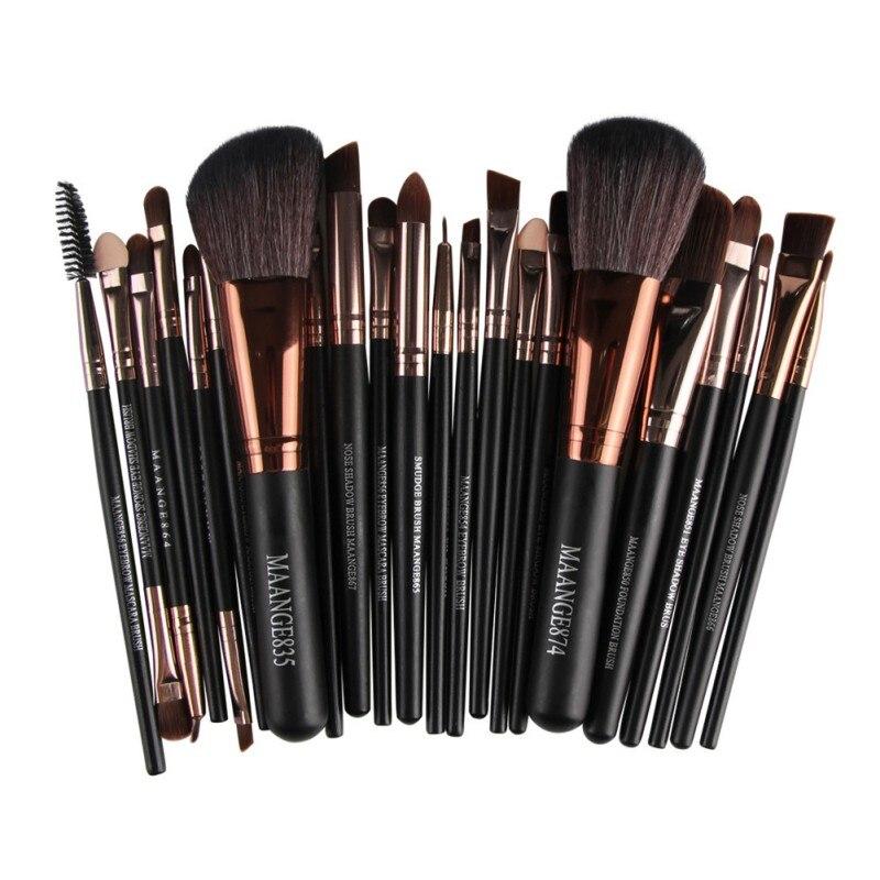 22pcs=1set Makeup Brushes Tools Set Solid Maquiagem Tools Kits Eyeshadow Eyeliner Foundation Highlighter Cosmetic Brushes