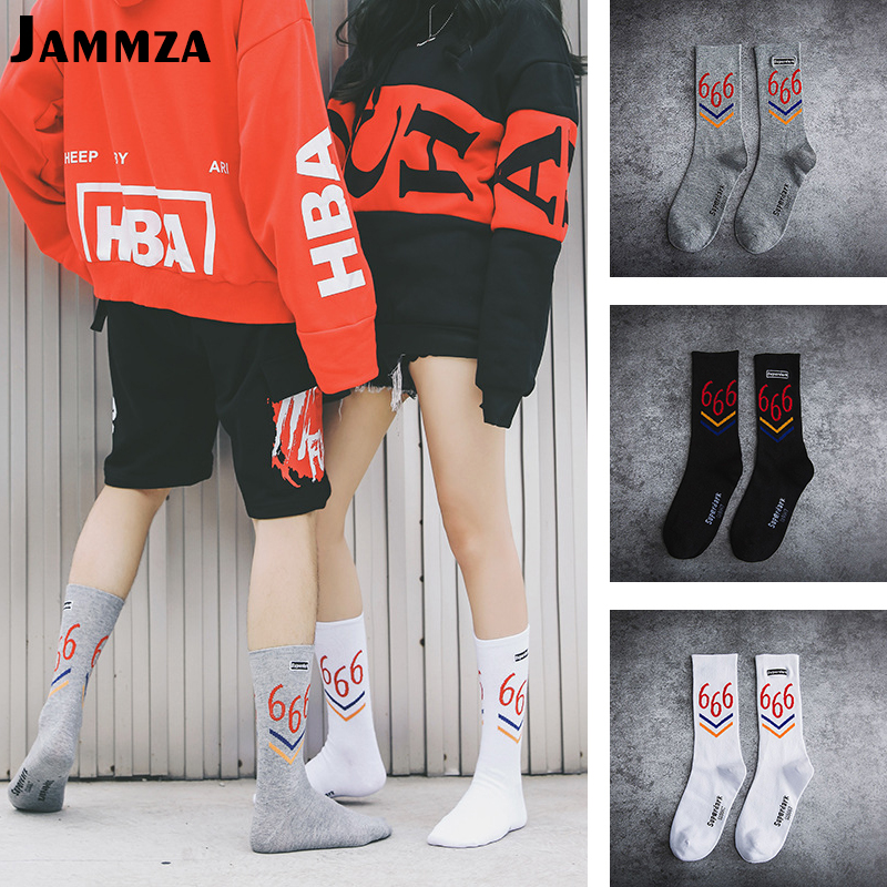 New Fashion Men Stripe Solid Casual   Socks   for Women Hiphop Sporty Harajuku Couple Street Skateboard Cotton Digital 666   Socks   Hot