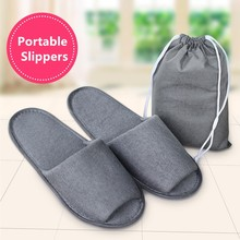 1 Pair Simple Slippers Hotel Travel Spa Portable Folding House Disposable Home Guest Big Size Shoes Men Women Indoor Slippers(China)