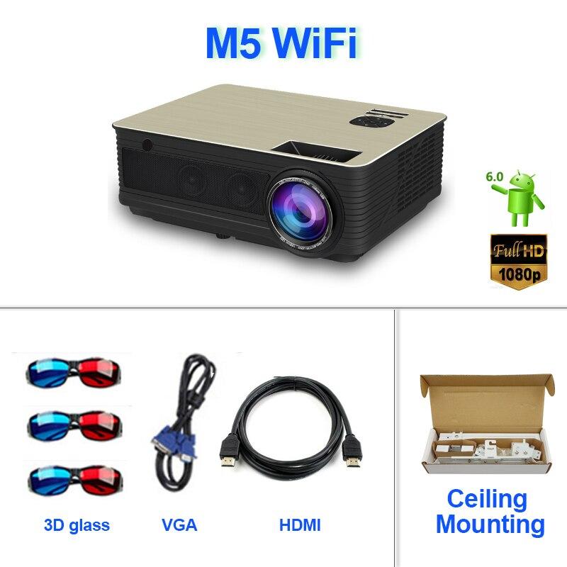 2019 Nieuwste M5 Wifi Projector Android Draadloze Multi-screen Interactieve Voeg 10 M Hdmi Muur Beugel Screen Gordijn M5w Vs Led96 Versterkende Taille En Pezen