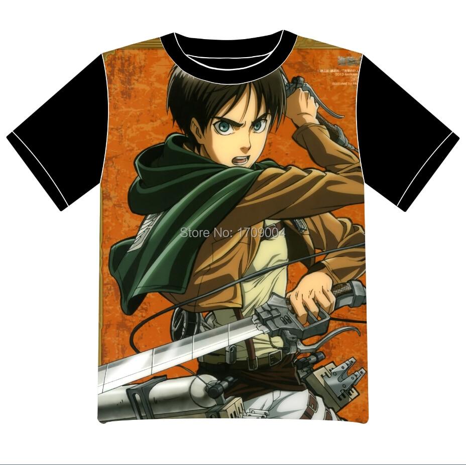 Free Shipping Anime Manga Shingeki no Kyojin Attack on Titan  T-shirt  Women Men Cosplay  T Shirt  Black  Mesh Tee 001