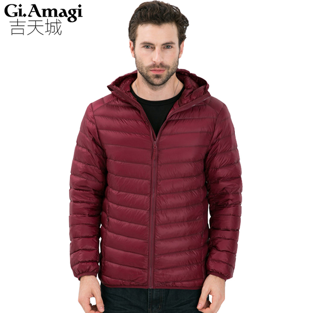 Novo 2016 Homens Jaqueta de Outono Inverno Fino e leve Alta qualidade Pato Branco Para Baixo tem bolsa Homens Roupas Outwearing Quente jaqueta