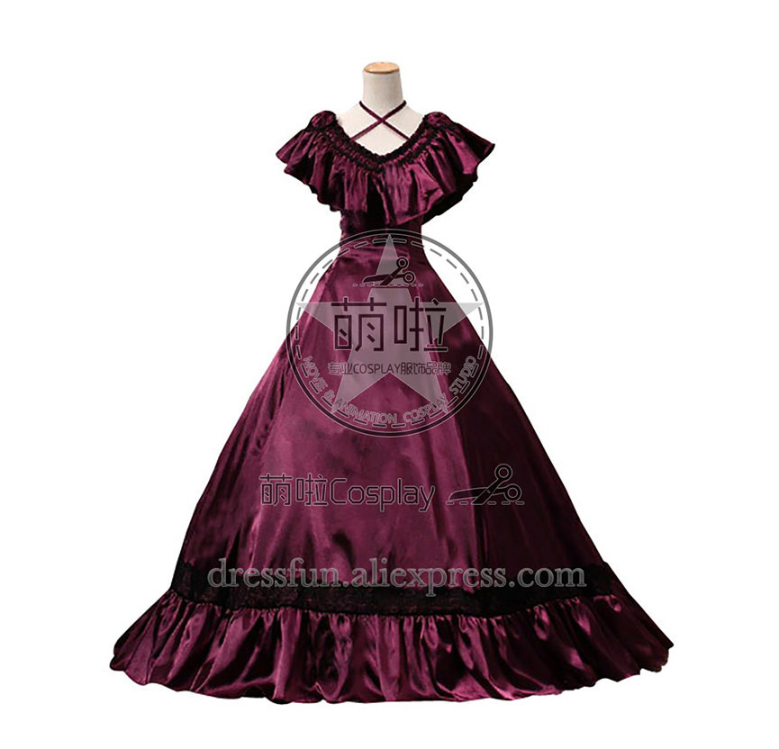 Southern Belle Edwardian Victorian Satin Gown Reenactment Lolita Dress Costume with Ruffles Decorated Beautiful For Halloween