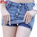3XL Vintage Blue Denim Falda Corta Para Las Mujeres 2017 Verano Agujero pantalones Cortos vaqueros Falda Femme Sexy Más El Tamaño de Cintura Alta Pantalones Cortos de Jean