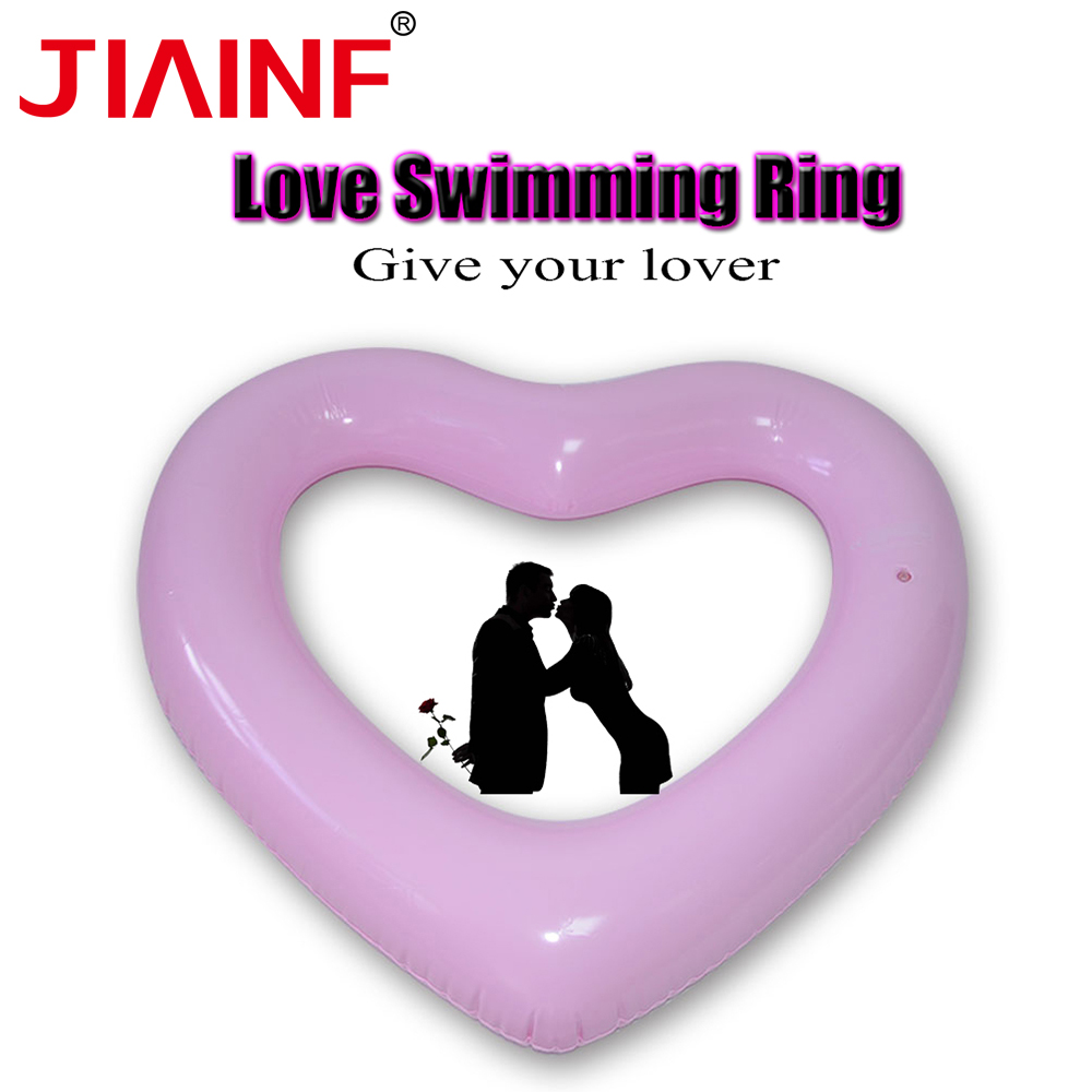 JIAINF Adults Child Inflatable Ring Green Pvc Material Cute Pink Heart Shaped Pool Float Circle For Swimming Beach Sea Swimming