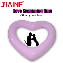 JIAINF Adults child inflatable ring green pvc material cute pink heart shaped pool float circle for swimming beach sea
