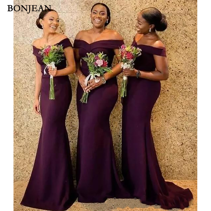Grape Satin Mermaid   Bridesmaid     Dresses   Saudi African Off The Shoulder African Maid Of Honer   Dress   Back Zipper Wedding Guest Gown