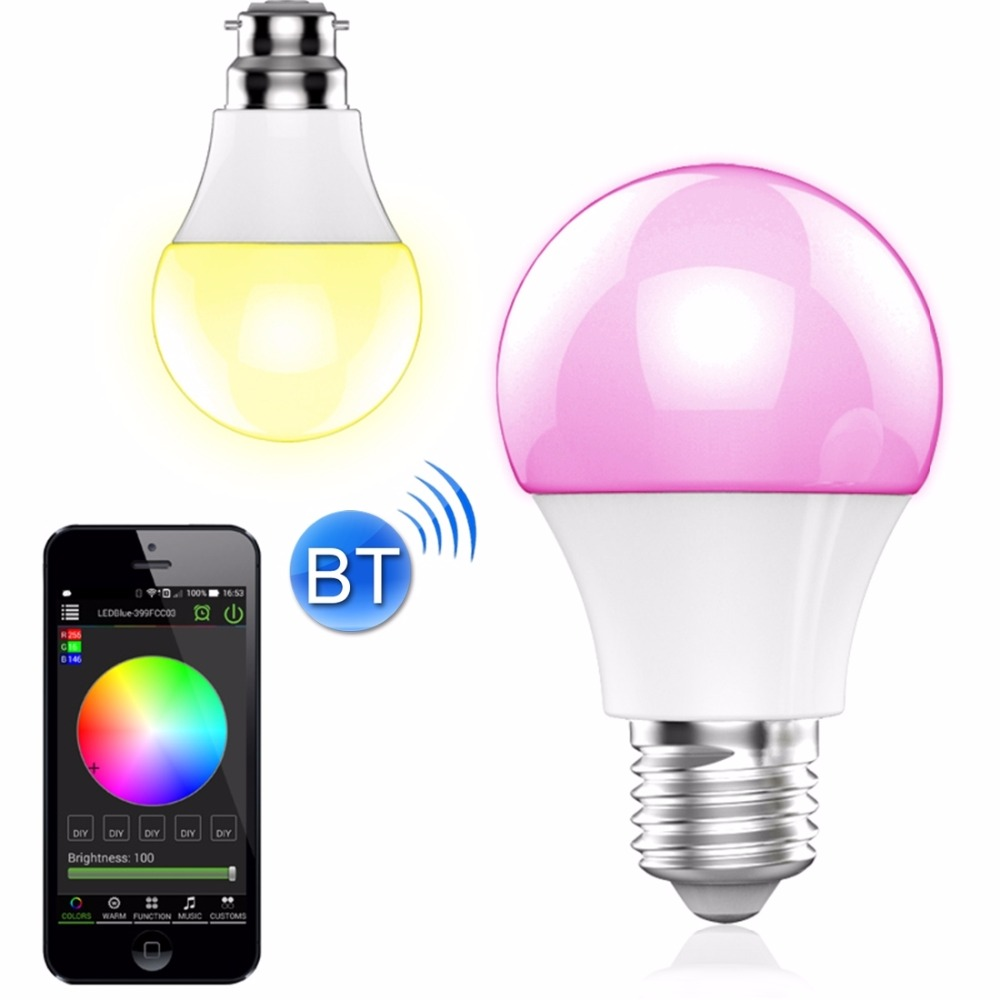 Bluetooth Control Music Playing Speakers E27 LED Bulbs Colors Change Dimmable Wireless Smart Lamp Lighting IOS/Android APP