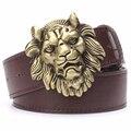 Cinto de cabeça de Leão de ouro dos homens do sexo masculino cinta moda couro Pu cinto calça casual cinto de fivela de metal grande de ouro rei leão cabeça