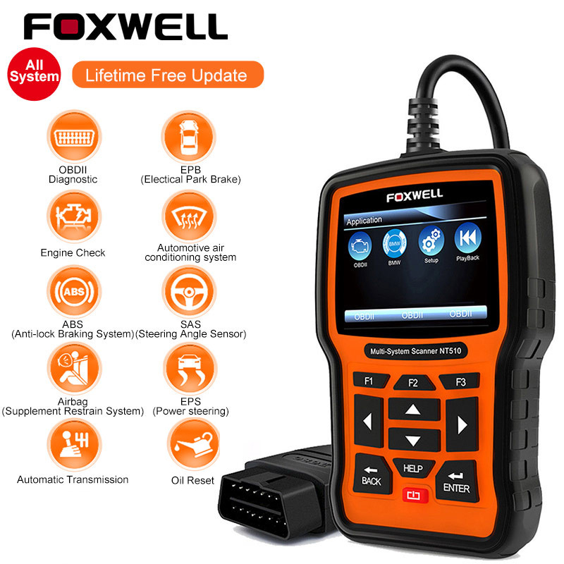 FOXWELL NT510 Full System OBD2 Scanner ABS SAS AT SRS Airbag Crash Date Reset DPF Battery Registration OBD 2 Car Diagnostic ToolFOXWELL NT510 Full System OBD2 Scanner ABS SAS AT SRS Airbag Crash Date Reset DPF Battery Registration OBD 2 Car Diagnostic Tool