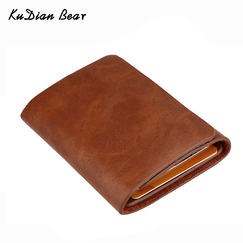 KUDIAN BEAR Leather Men Money Clip Wallet Magnet Men Money Purse Brand Designer Fake Coin Money Pouch Cases Bag -- BID057 PM49 money