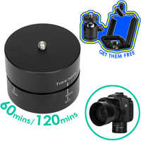 Photography Aluminum Panning 360 Degree Timing Rotating Time Lapse Camera Tripod Head Adapter For Canon Nikon DSLR Gopro