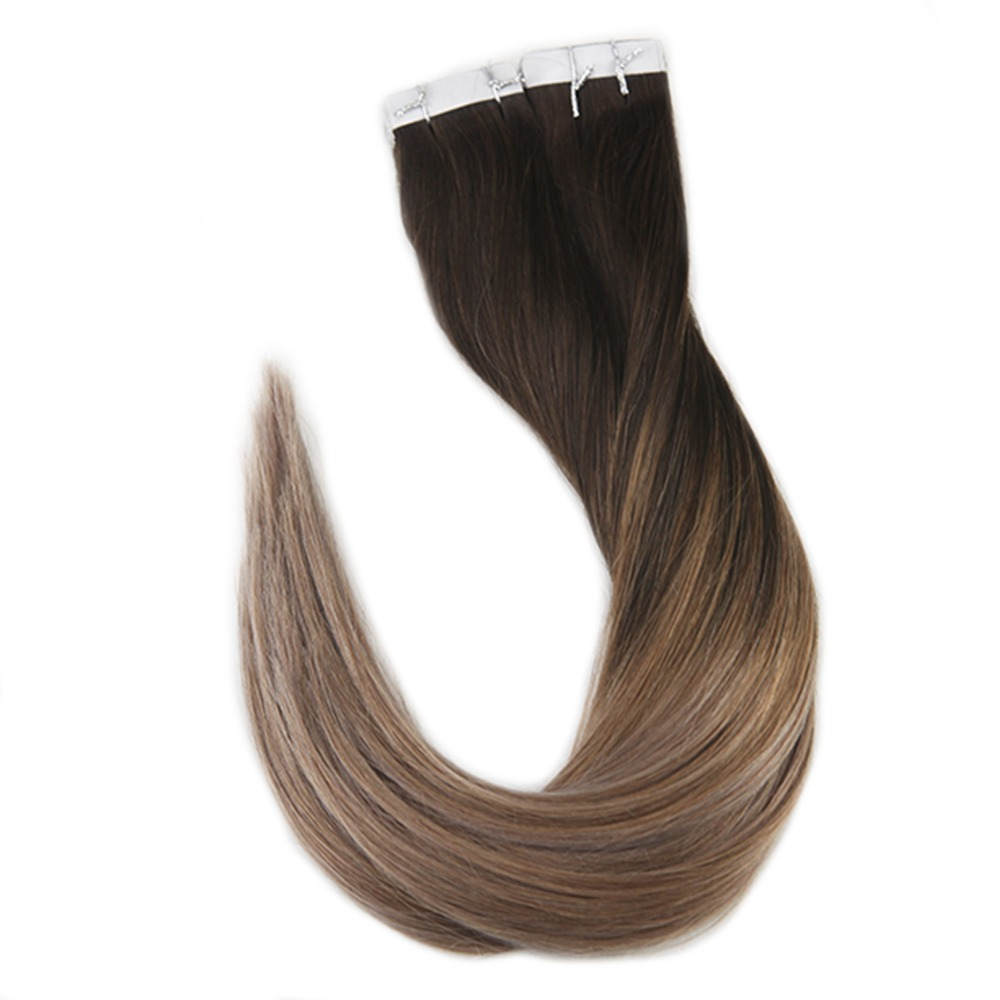 Full Shine Tape Hair Extensions Human Hair 40 Pcs 100g Remy Balayage Hair Color #2 Fading to #6 and #18 Ash Blonde Extension