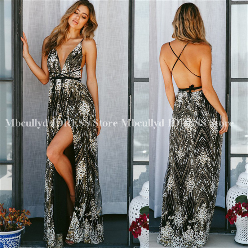 Glitter Sequined A-line African   Cocktail     Dresses   Long 2019 Sexy High Split Tassel Black Girls Maxi Prom Party   Dress   Cheap