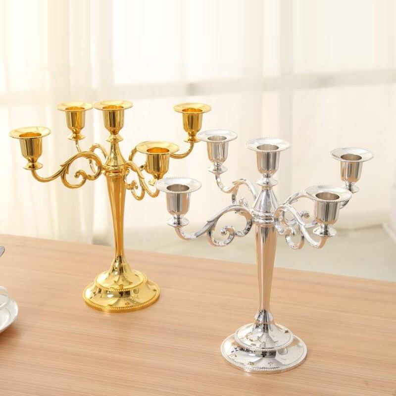 Toptan gümüş/altın/siyah/bronz Metal mumluk 5-arms/3 arms mum standı düğün şamdan şamdan damla nakliye
