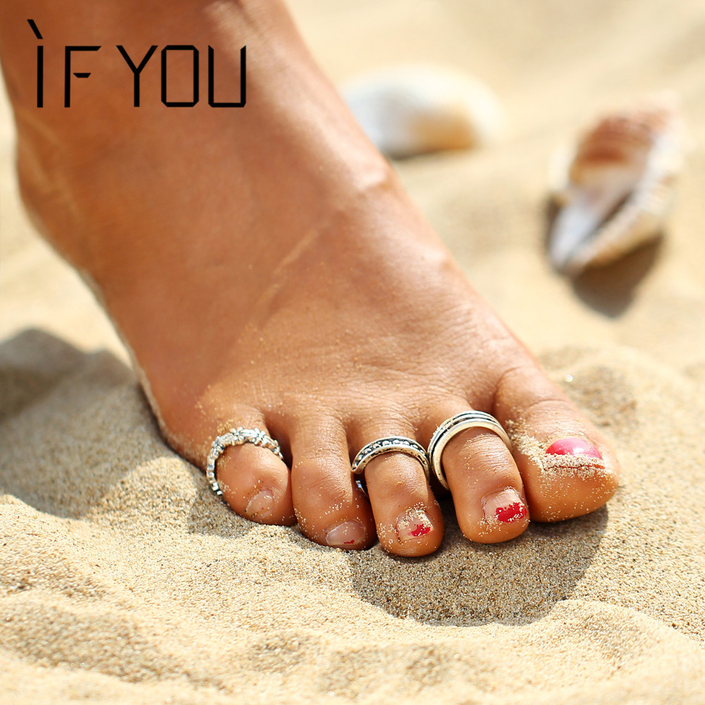 If You 3Pcsset Summer Beach Flower Toe Ring Set Women -1462