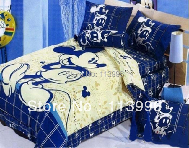 Blue Mickey Mouse Cartoon Kids Comforter Set Queen Size