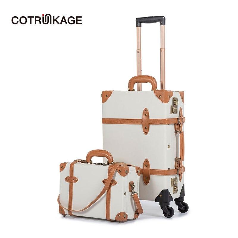 """Cotrunkage 20 """"tragen Auf Koffer Tsa Lock Vintage Koffer Roll Stamm 2 Stück Gepäck Set Für Frauen Mit 13 """"kosmetische Fall"""
