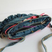 Children Kids Girls Princess Pretty Casual Denim Jeans Red Belt Handbag Messenger Shoulder Bag Cross Body Handbags Coin Purse