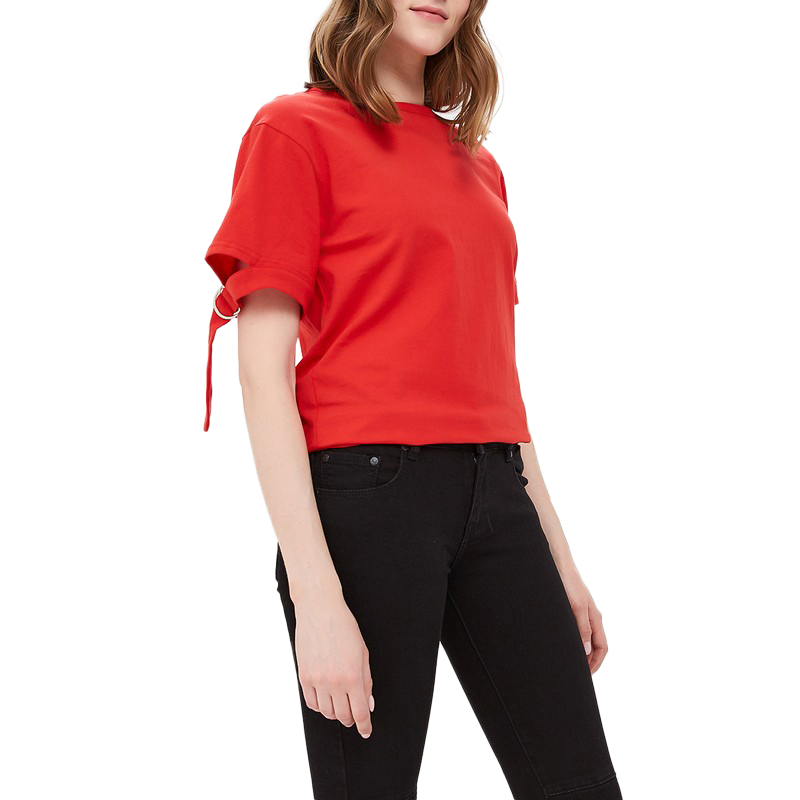 T-Shirts MODIS M181W00572 woman t shirt cotton for female TmallFS plus size skew collar skull t shirt