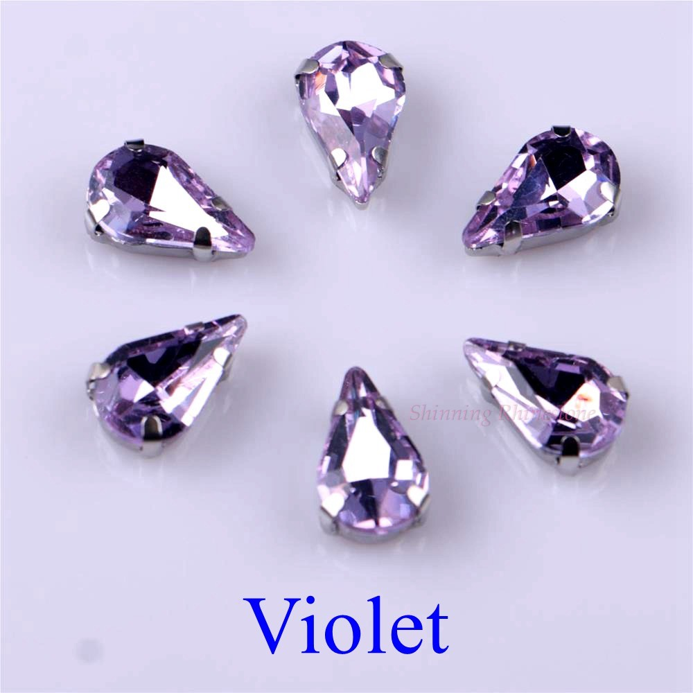 Узкий Каплевидная форма стеклянные стразы с когтями пришить с украшением в виде кристаллов Камень страз с алмазными металлическими Базовая Пряжка 20 шт./упак - Цвет: Violet