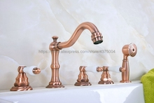 Widespread Antique Red Copper 5 Holes 3 Handles Bathroom Tub Faucet W/ Hand Shower Mixer Tap Ntf226