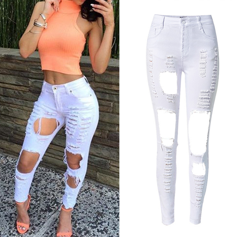 2018 High Waist Stretch Women   Jeans   White Ripped   Jeans   For Women   jeans   Hole Skinny   Jeans   For Women Pants Femme
