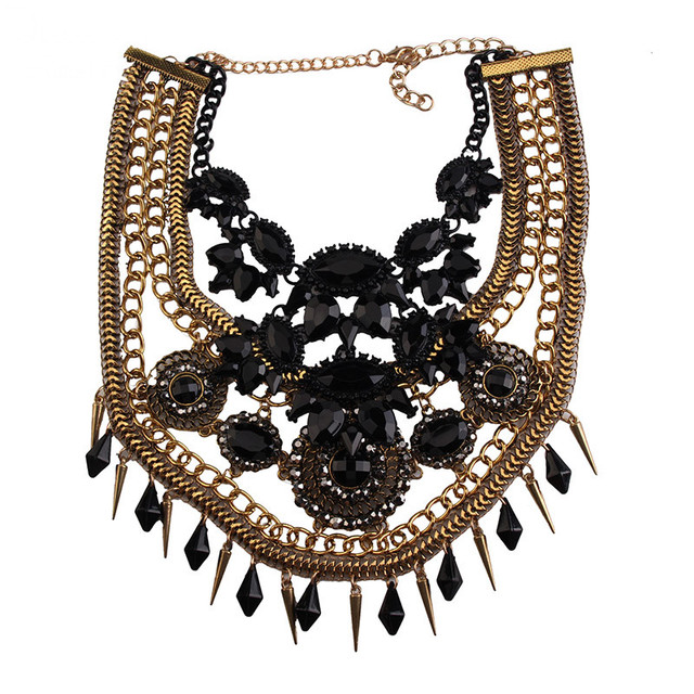 Women Rhinestone Beads Collar Statement Necklace