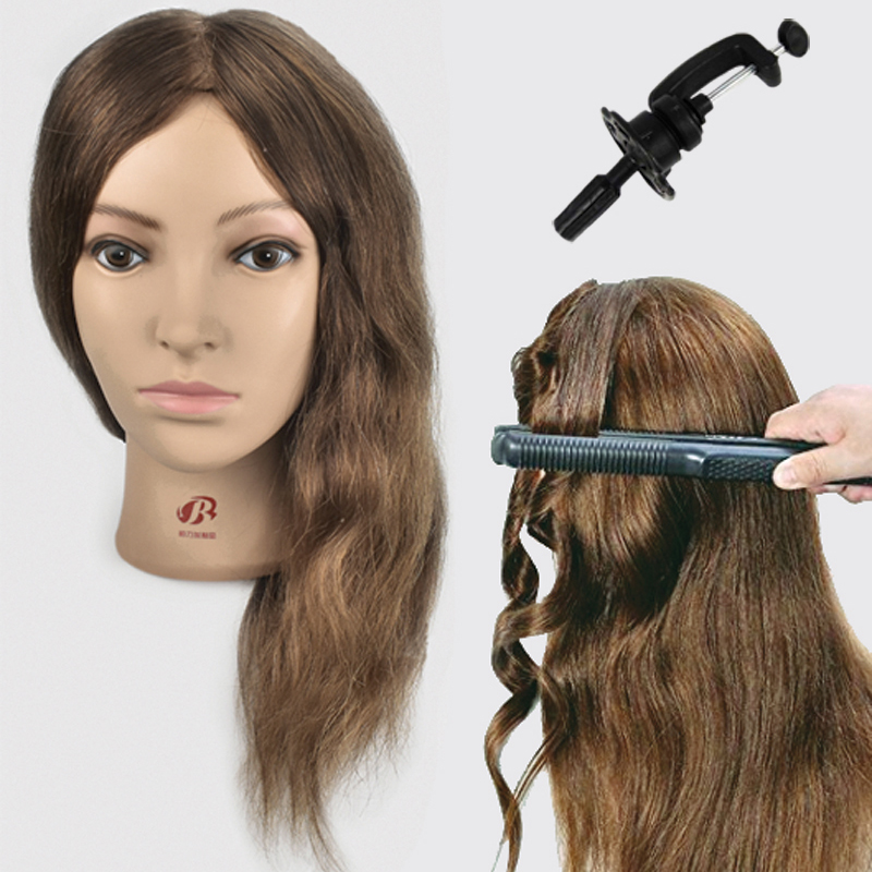 Hot Selling Female 16 Hairdresser Training Head With 100% Real Human Hair Mannequin Head For Hairstyles Practice Wig Doll Heads gorgeous bouffant capless short side bang human hair wig for women