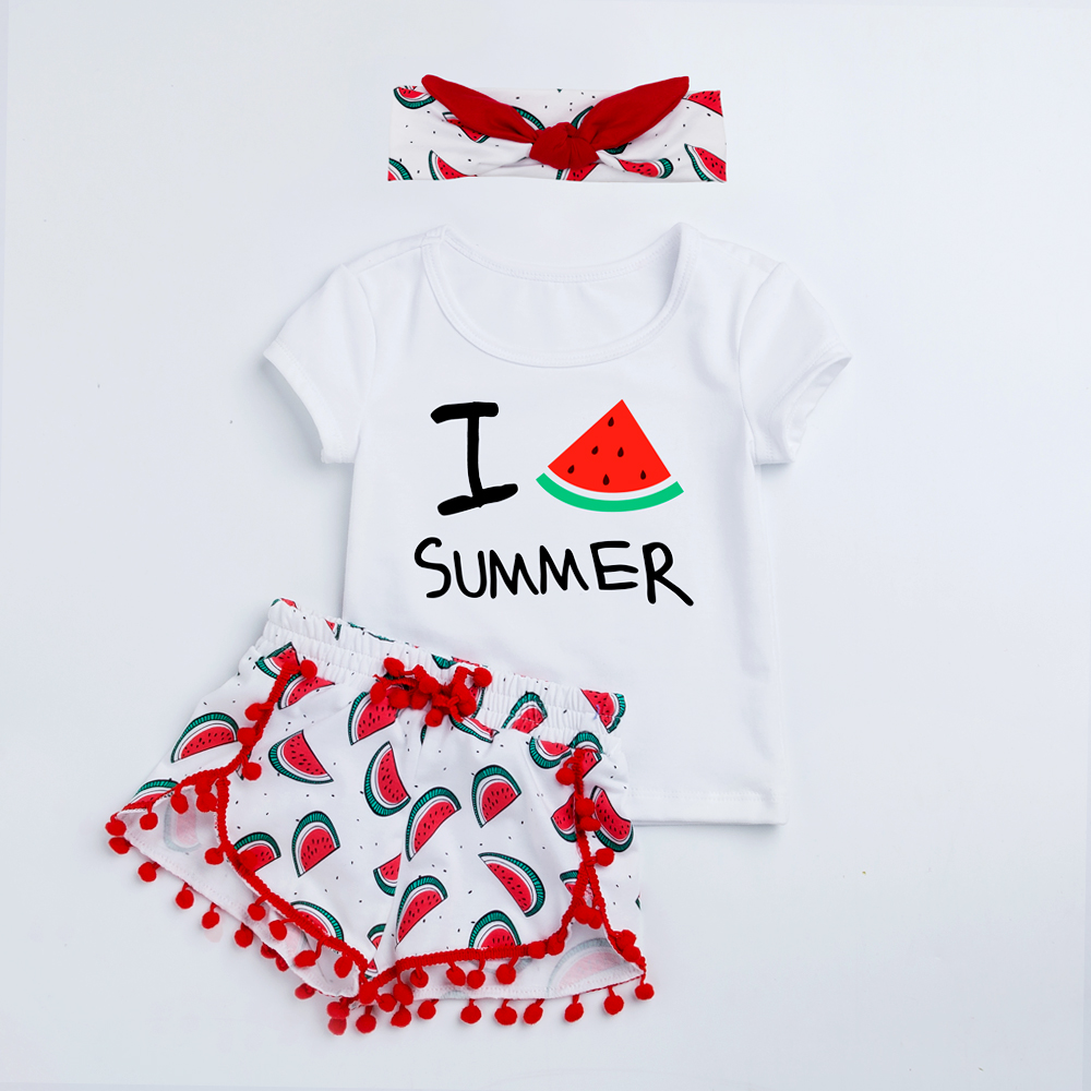 YK&Loving Summer Style Baby Girl Sets Clothing Cotton Short Sleeve Watermelon T-shirt Shorts 3Pcs Newborn Fashion Casual Sport