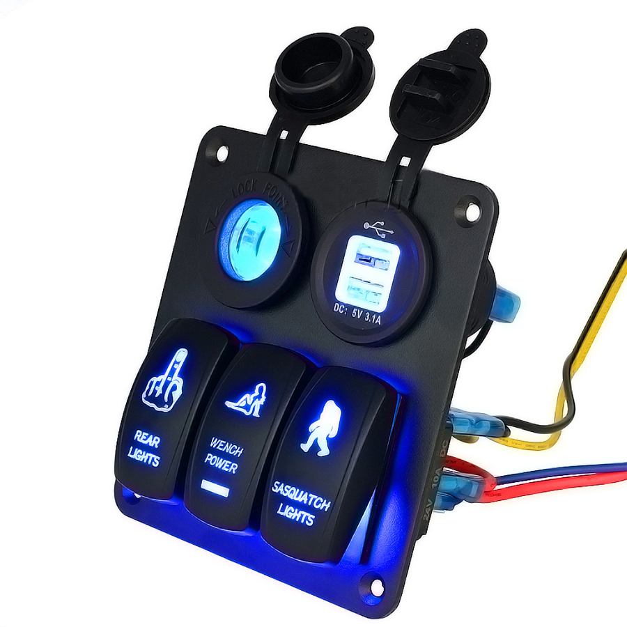 Rocker Switches For Boats Usb Boat Marine Led Switch Panel Circuit Breaker 4 Ebay Blue Dual Car Charger Waterproof Cigarette Lighter Socket