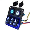 Marine LED azul Rocker Interruptor de Panel de Interruptores de Doble USB Cargador de Coche Encendedor de cigarrillos A Prueba de agua Yate RV ATV Interruptores