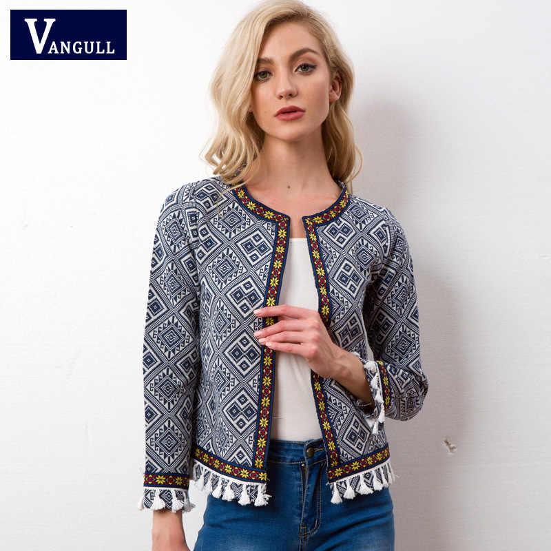 Vangull Tribal Işlemeli Ceket Mavi Vintage Saçak Bant Trim Kadın Sonbahar Ceket 2018 bahar uzun kollu elbise Püskül Boho Ceket