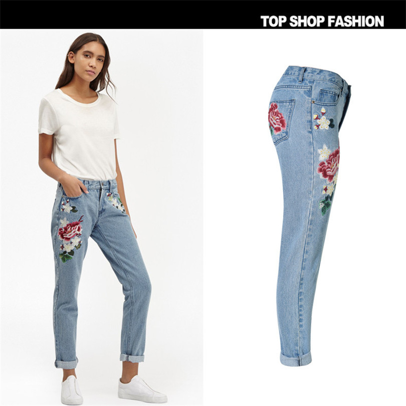 3D pastoral embroidery ladies rose Loose Jeans 4