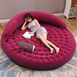 Louis fahion redondo duplo dobrável sofá cama inflável único preguiçoso sofá almofada cama aumento criativo casa