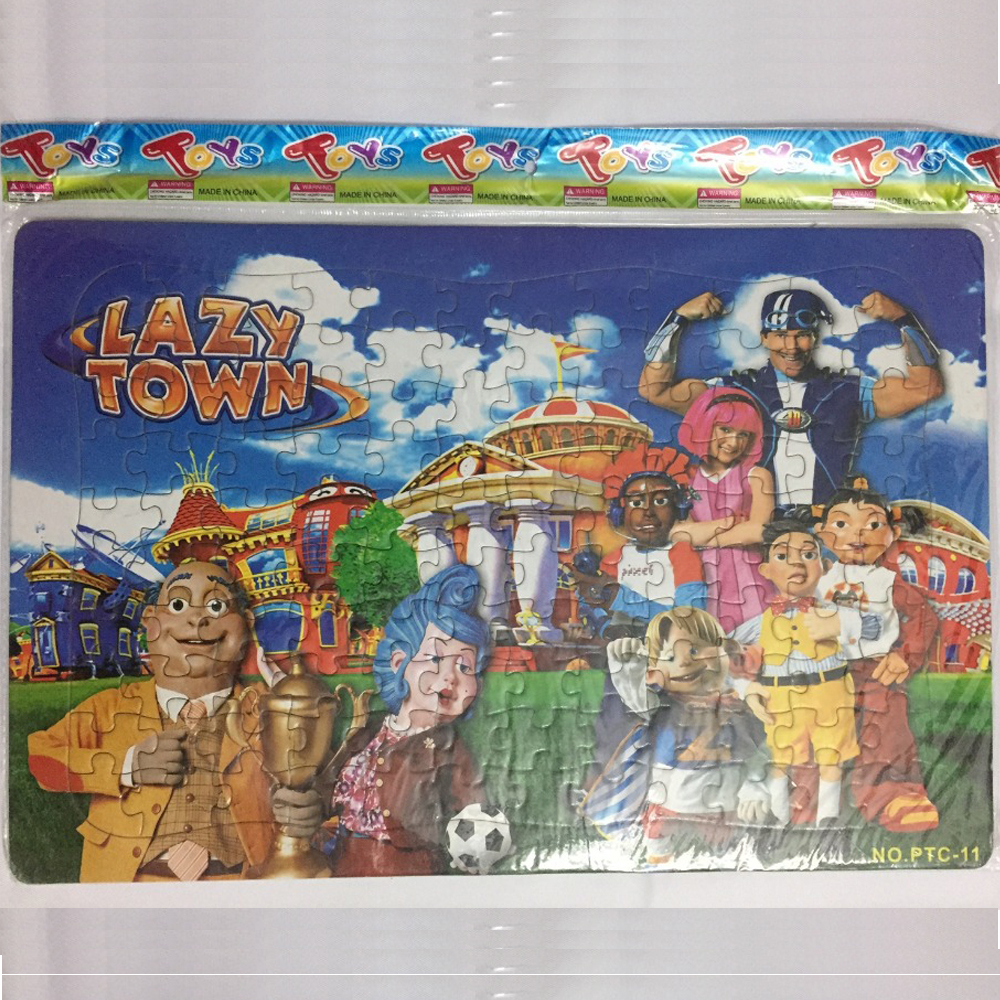 120PCS 42x28cm LazyTown 2D Playying Football Puzzles Lazy Town Jigsaw Puzzle Christmas Educational Kids Toys For Children Funny