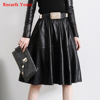 Women Vintage Sheds High Waist Expansion Bottom Full Faldas Lady Midi Long customize 4XL/5XL Plus size Belt Real Leather skirt