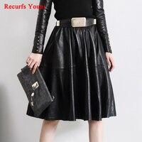 Women Vintage Sheds High Waist Expansion Bottom Full Faldas Lady Midi Long customize 4XL/5XL Plus size Belt Real Leather skirt