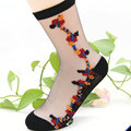 Womens Short Sock Thin Transparent Crystal Silk lace floral Socks Women Lady Girl Summer Black Khaki Pure Color