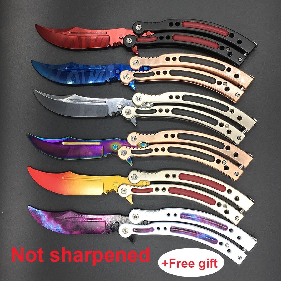 CS GO butterfly in knife butterfly training knife stainless steel Karambit folding knife blade gift+screwdriver many styleS