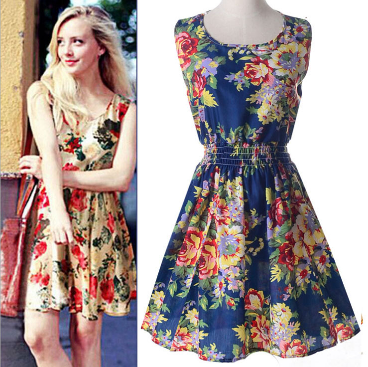 on sale new fashion Floral Print women dresses girl casual ...