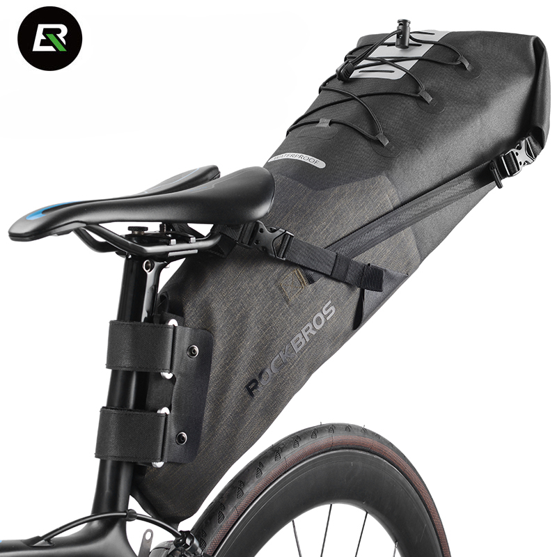 Rockbros MTB Road Bike Bag High Capacity Waterproof Bicycle Bag Cycling Rear Seat Saddle Bag Bike Accessories Bolsa Bicicleta roswheel mtb bike bag 10l full waterproof bicycle saddle bag mountain bike rear seat bag cycling tail bag bicycle accessories