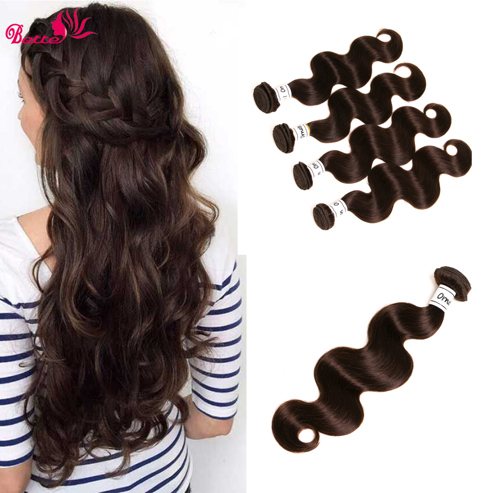 Ornate 4 Bundles Malaysian Body Wave Dark Brown Human Hair Weave Bundles Non Remy Hair Extensions 8-28 Inch Body Wave Bundles