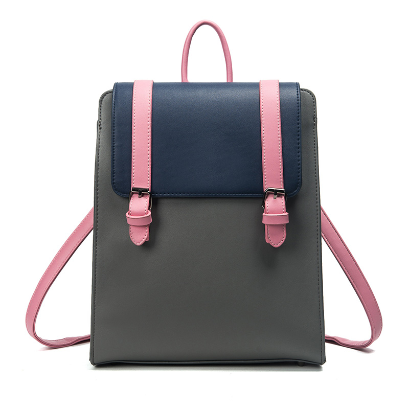 Hot Sale Summer New Shoulder Backpacks Retro British Ladies Panelled Backpacks Fashion Casual Pu Leather Art