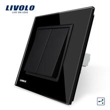 Envío Libre, Fabricante Livolo Lujo Panel Negro Crystal Glass, 2 Cuadrillas 2 Manera, Interruptor de Botón, VL-C7K2S-12