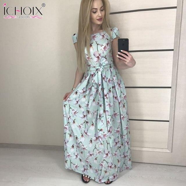 9bd984e9d013 Summer Long Dress for Women Boho floral print Maxi Dress style Elegant  Party Floor Length Dress Women Clothing Green Dress S-2XL